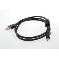 USB 2.0 A Male to Mini B 5pin Male 28/24AWG cable w/ Ferrite Core / gold plated